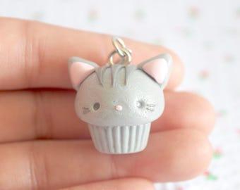 Kawaii Gray Cat Cupcake / Kawaii Charms /