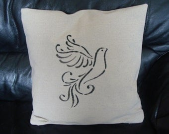 linen Cushion cover ecru Dove painting