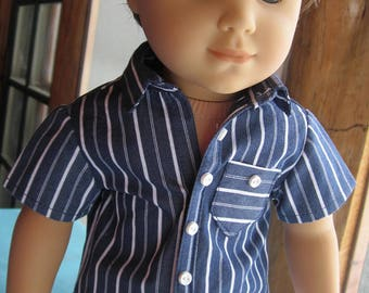"18"" American Boy Logan Doll Shirt  Short Sleeved Navy Blue Cotton Stripe Handmade To Fit 18' Boy Dolls"