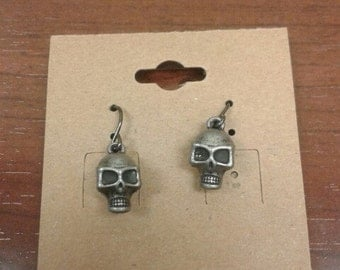 Silver Plated Skull Dangle Earrings