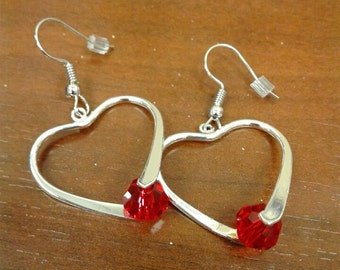Silver Plated Heart Dangle Earrings - Red Swarovski Crystals