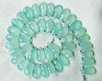 20 piece faceted sky blue chalcedony pear briolette beads 17 -- 17.5 mm approx