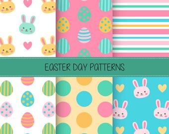 Happy Easter Digital Paper Pack - 12x12 Instant Download - Easter Bunny Scrapbook Paper - Easter Egg Digital Paper - Cute Easter Scrapbook