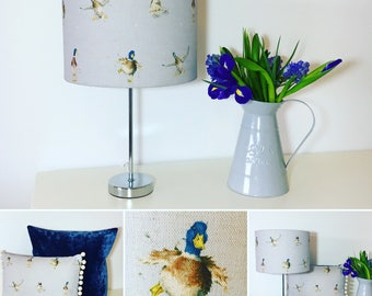 Duck print linen lampshades