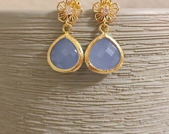 Gold flower earrings with periwinkle blue stone