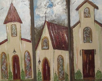 Rustic Hand Painted Reclaimed Barn wood Churches Country Decor Religious, art, vintage, gift