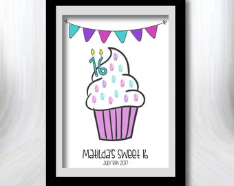 Sweet 16 Fingerprint guestbook/Thumbprint guestbook for birthday/baby shower/baby sprinkle/christening/wedding - Cupcake (Digital File Only)