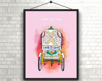 L'amour C'est L'amour- Indian Rickshaw Art // Indian Autorickshaw Printable Art // Colorful Indian Rickshaw Wall Art