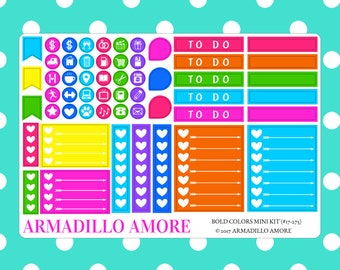 Bold Colors Mini Kit {55 Fancy Matte or Glossy Planner Stickers} | #17-275