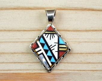 Native American Zuni pendant diamond multipierres for men or women.