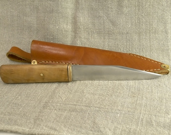 """Hand forged knife """"Seax"""" made of high carbon steel with sheath"""