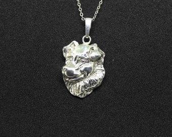 Australian Shepherd jewelry pendant - sterling silver - Custom Dog Necklace - Pet Memorial Gift - Dog Mom Gift - Pet jewellery