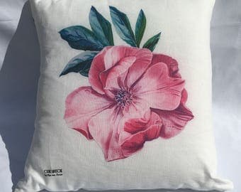 Pink Peony white linen cushion
