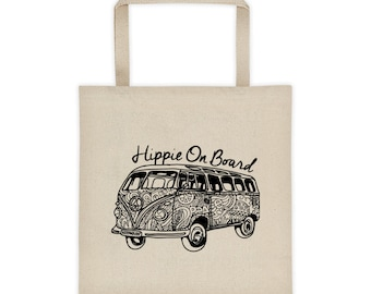 Hippie Tote Bag, Hippie On Board Bag, Canvas Tote Bag