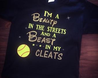 Softball tshirt | Beauty and the Beast softball shirt; black tshirt; youth to adult sizes