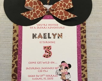 Minnie Mouse Safari Invitation
