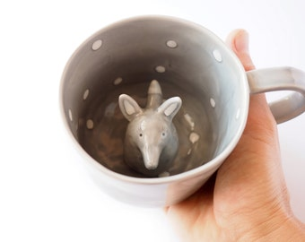 Wolf Coffee Mug, Wolf Surprise Mug, Cute Animal Mug, Hidden Animal Cup. Italian clay, hand painted mug in grey, white glaze. Made to Order