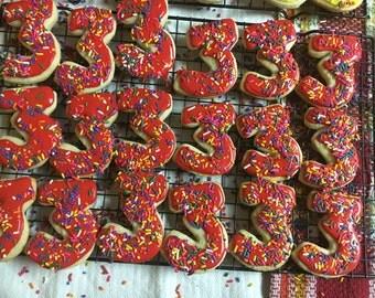 Single Digit Number Cookies with Sprinkles