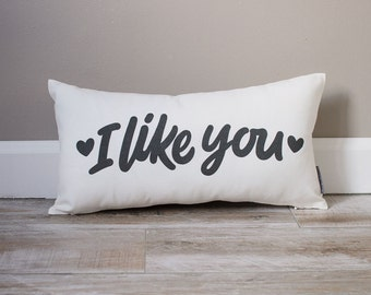 I Like You Pillow   Monogrammed Valentine's Gift   Gifts For Her   Valentine's Day Gift   Rustic Decor   Monogrammed Pillow   Love Pillow