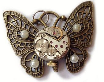 steampunk key Schlüssel pendant necklace butterfly effect
