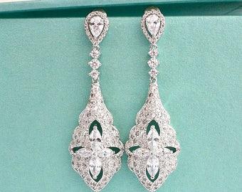 Vintage Style CZ Crystal Bridal Earrings, Old Hollywood Wedding Chandelier Earrings, Long Art Deco Bridal Earrings, Bridesmaid Earrings