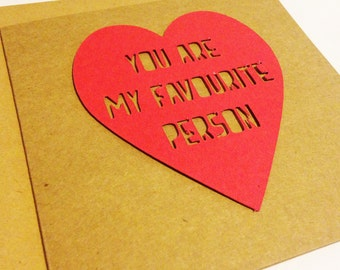 You're My Favourite Person Cut Out Greeting Card