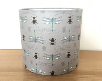 Fabric lampshade. Bumblebee and Dragonfly, Lewis & Irene Fabric.