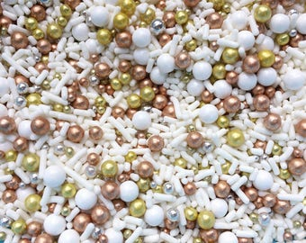 Edible Sprinkles - All gold everything - Dragees sprinkle mix , gold, rose gold silver dragees, edible decorations - 4 oz