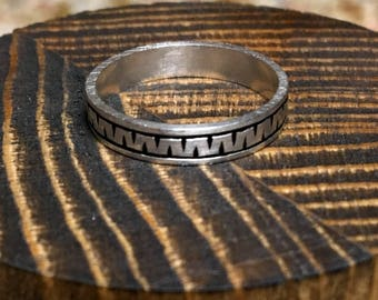 Hand Engraved Zig Zag Ring