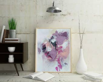 Abstract Giclee Fine Art Print, black, peach, maroon, purple, white, pink, print made from original painting by Stacy Trammell