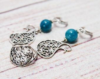 Aquamarine earrings Aquamarine Aquamarine jewelry Silver earrings Earrings Blue earrings Gift for her Handmade earrings Blue aquamarine