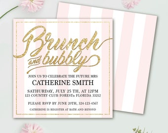 Editable Instant download Brunch and Bubbly Invitation, Bridal Shower Invite, Elegant Brunch Invites, Pink Gold Invitations