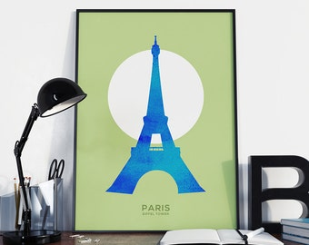 Paris Eiffel Tower Print, City Poster, Paris Wall Art, Minimal Prints, Paris Poster, Printable Wall Art, Home Decor - 046