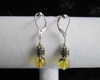 Bali Style Sterling Silver and Citrine Gemstone Earrings