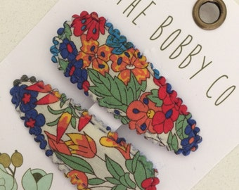Girl hair clip -Baby hair clip - hair clip set -baby snap clips - toddler hair clip-Liberty Tawn snap Hair Clips - floral