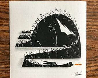 Sleepy Dragon 6x6 Print