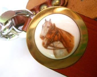 Unique Porcelain Horse Theme Brown Leather Belt c 1970s