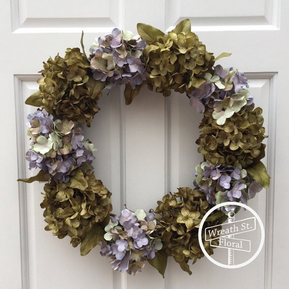 Hydrangea Wreath, Summer Wreath, Spring Wreath, All Occasion Wreath, Year Round Wreath, Wreath Street Floral, Front Door Wreath