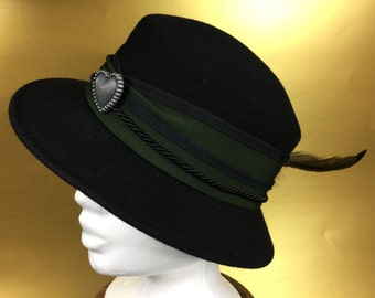 My Beautiful Bavaria Woman's Accessory Regensburger Style Authentic Vintage Black Wool Hat with Feather Accent