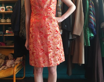 Sixties chinese dress red and gold size 10 chinoiserie