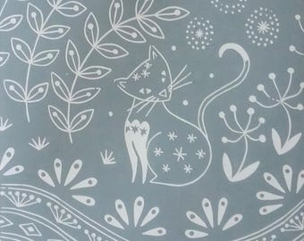 Jemima Cat in grey, limited edition linocut print