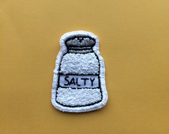 Salty salt shaker hand embroidered patch