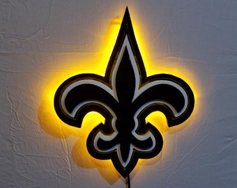 New Orleans Saints Football Sign with LED Lights