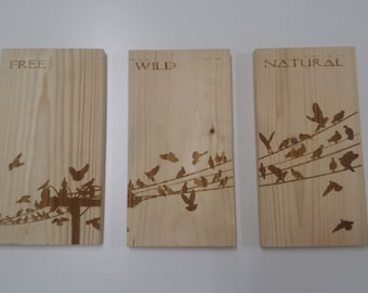 special price!! wood wall art, set of 3, birds on wire
