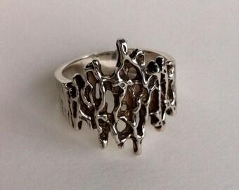SILVER Modernist Brutalist Ring size 9