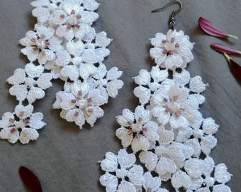 Lace Earrings - White Floral lace chandelier earrings with pink and white accent hand beading - hypoallergenic - R305