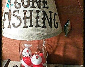 Fishing theme lamp,mason jar lamp, Gone Fishing lamp, fishing  bobbers decor, Man Cave decor, fishing cabin lamp, fishing lodge table lamp
