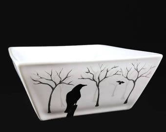 Ceramic Dish - Hand Painted Crows in the Mist Design, Crows and Ravens, Candy Dish, Dip Bowl, Ceramic Crow Dish, Ceramic Raven Dish
