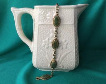 Vintage Bracelet, Green Stone Bracelet, Link Bracelet
