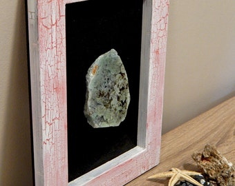 collage with moss agate slice wooden collage hand madewall decor home decorenergy stone art stone moss agate framed agate pink fra